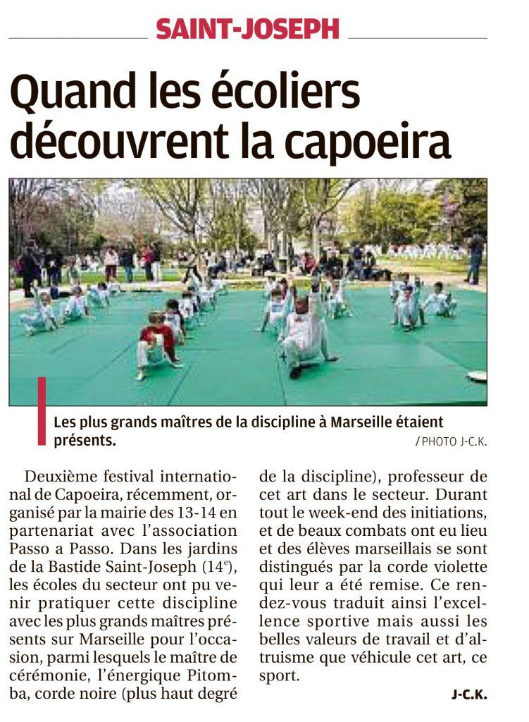 """Visuel de l'article de La Provence """"Quand les écoliers découvrent la capoeira"""""""